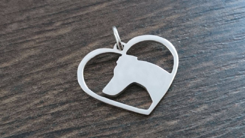 Smooth fox terrier heart Charm silhouette solid sterling silver Handmade in the Uk